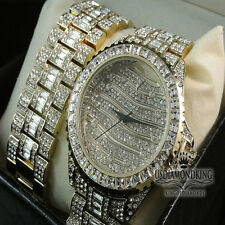 NEW 14K YELLOW GOLD FINISH ICED OUT WATCH BRACELET SET LAB DIAMOND BLING MASTER