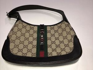 GUCCI JACKIE O GG BROWN MONOGRAM CANVAS SMALL HOBO BAG PURSE PREOWNED