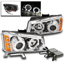2003-06 CHEVY SILVERADO CHROME PROJECTOR HALO LED HEAD LIGHTS+WHITE DRL W/6K HID