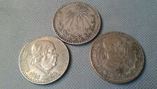 World Old Silver Coins Mexico 1940/1947/1959 - Three One Peso Silver Coin Lot