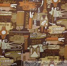 BonEful Fabric FQ Cotton Quilt Brown Boot Hike Cabin Boy Scout Rope Tent Cowboy
