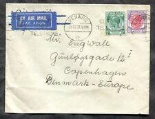 p631 - MALAYA Penang 1937 Airmail Cover to Denmark. Straits Settlements