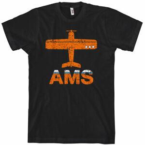 FLY AMSTERDAM T-shirt - AMS Schiphol Airport Netherlands Holland Oranje - XS-4XL