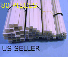 "STYRENE SQUARE TUBES - 80 PIECE LOT - 4 SIZES - WITH 1/8"" 1/4"""