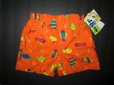AL& Ray Boys Orange Fishy Lined UPF 50 Swim Trunks size 12 Months  NWT