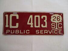 1926 South Carolina PUBLIC SERVICE  License Plate Tag PALMETTO TREE