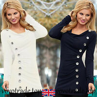 Fashion Women's Ladies Casual Slim Blouse Shirt Long Sleeve Button Pullover Tops