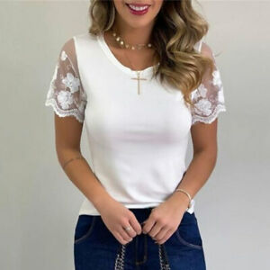Womens Lace Short Sleeve Top Blouse Ladies Casual Slim T shirt Tops Lace Sleeves