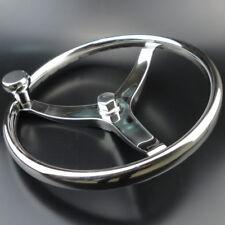 """Boat Steering Wheel Stainless Steel 3 Spoke 13-1/2"""" Dia. For SeaStar Verado Sale"""