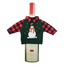 Ugly Christmas Snowman Sweater Lodge Cabin Wine Bottle Wear Bag Cover Decor Gift