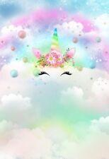 5x7ft Vinyl Rainbow Unicorn Cloud Birthday Photo Studio Backdrop Background
