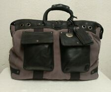 NWT $395 Will Leather Goods Men's Canvas & Leather Grey/Black Traveler Duffle