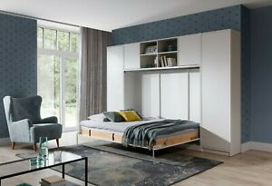 Double Horizontal Wall Bed Murphy Bed Hidden Bed with Cabinets, Wardrobe