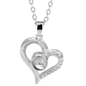 925 Silber Damen Halskette Herz Ich liebe dich Schmuck 100 Sprachen I love you
