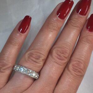 Heavy Designer K&G Charles and Colvard Moissanite Band Ring 14K White Gold