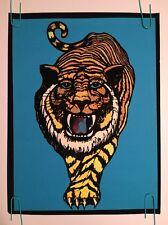 Vintage velvet black light poster Stripes 1975 dynamic pub. Tiger 1970's
