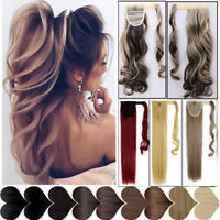 Real Long Hair Extensions Mega Pony Tail Thick Clip In As Human Wrap Ponytail J4