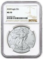 2020 1oz Silver Eagle NGC MS70 - Brown Label - PRESALE