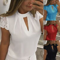 Fashion Summer Women V-Neck Lace Short Sleeve T-shirts Casual Blouse Tops