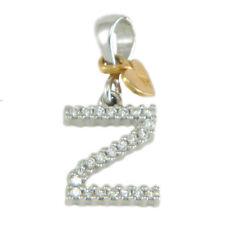 Pendente ciondolo iniziale lettera Z in oro bianco 18 carati e zirconi bianchi