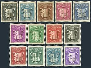 Andorra Fr 65-72A,74-77,hinged.Michel 49-55,57,83-87. Coat of Arms 1936-1942.