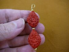 J-8) RED CINNABAR Pendant necklace carved wood lacquer flower bead loop jewelry