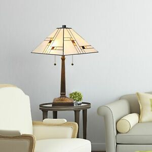 Tiffany Style White and Beige Mission Floor and Table Lamp Set