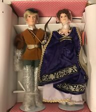 """Paradise Robin Hood And Maid Marian Dolls Porcelain 14"""" Tall With Stand"""