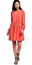 New! Old Navy Spring Fall Pintuck Pleated Coral Swing Shirt Dress Large L 12 14