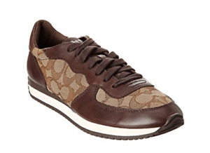 New Coach Farah Signature Outline Fabric Napa Sneakers Chestnut/Khaki Shoes