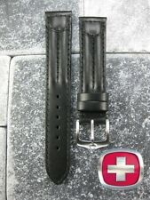 New 20mm SWISS ARMY MILITARY Black Leather Strap Watch Band 20mm V1