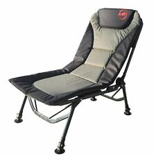 Outdoor Folding Fishing Chair Camping Recliner 4 Adjustable Legs XL Dark Green
