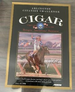 "Michael Geraghty 1996 Arlington ""Cigar's Quest"" Signed by Jockey Jerry Bailey"