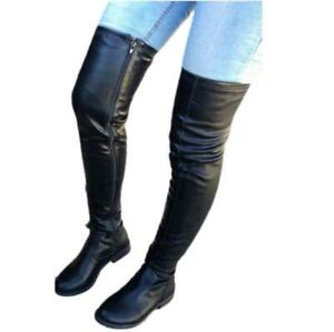 New Women's Low Heel Over The Knee Stretch Leg Thigh High Boots Fashion Casual L