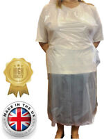 50 White Polythene Aprons Disposable UK MADE Hairdressing  Barber Beauty PPE