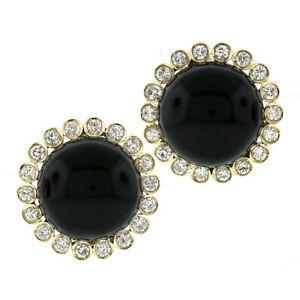 Vintage 18k Gold Round Cabochon Black Onyx 2.34ctw Diamond Halo Button Earrings