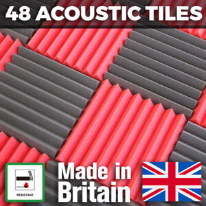 Acoustic Foam Tiles 48 Pack Mixed Colour 24 Red 24 Grey 50mm Thick Studio Panels