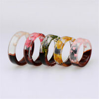 Resin Ring Wooden Flower Plants Novelty Ring Handmade Ring Wood Anniversary Gift