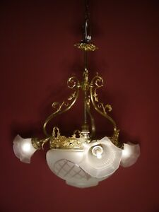 ANTIQUE FRENCH BRASS CHANDELIER SATIN OLD ART DECO 4 LIGHT FOYER HALL Ø 26""
