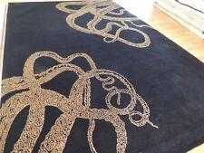 Modern 6x9 Abstract Serpent/Snake Branch design area rug Black Beige wool & Silk