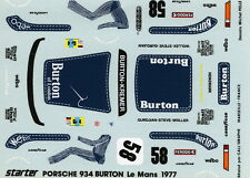 PORSCHE 934 N°58 BURTON LE MANS 1977 WOLLEK/GURDJIAN/STEVE STARTER DECALS 1/43
