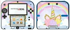 Nintendo 2DS PERSONALISED RAINBOW UNICORN Sticker Game Skins Decals cover
