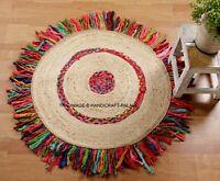 Handmade Area Rug Braided Jute Multi Brown Woven Carpet Natural Round Mat Floor