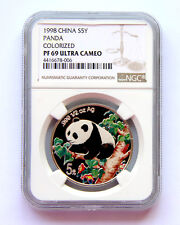 1998 panda 1/2oz silver coin colorized S5Y NGC PF69 Ultra Cameo