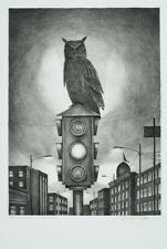 Monte Dolack Night Owl Hand Drawn Stone Lithograph Black and White