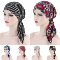 Women's Cancer Hat Chemo Cap Muslim Long Head Scarf Turban Flower Print HeadWrap