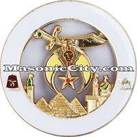Z-128 White Shriner Auto Emblem Temple Mason Masonic Car AAONMS Mason Masonic