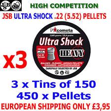 JSB ULTRA SHOCK HEAVY  .22 5.52mm Airgun Pellets 3(tins)x150pcs (IMPACT)