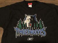 Vintage Late 90s Design Minnesota Timberwolves NBA Reebok Medium Black T Shirt