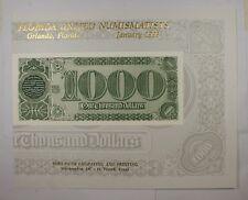 BEP souvenir card B 165 FUN 1993 Back 1890 $1000 TN
